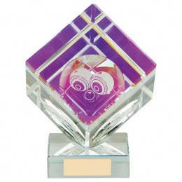 Rectangle Glass award with blue/gold plate - 3 sizes