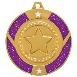 Glitter Star Medals - Gold/Silver/Bronze - 3 colours
